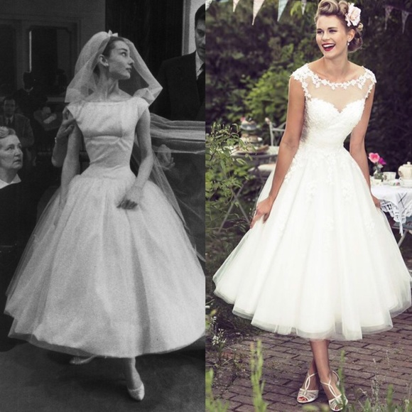 Audrey Hepburn Courthouse Tulle Wedding Gown416 | Poshmark